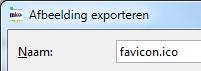 Favicon exporteren uit GIMP